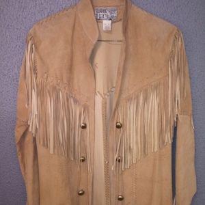 Vintage Nude Suede Fringe Open Front Boho Jacket